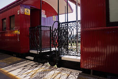 Vintage old train carriages. Fancy train carriages with metal gates Stock Photo