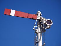 Vintage Old Train Signal. An old semaphore train signal indicating to stop Royalty Free Stock Photos