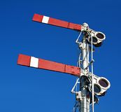 Vintage Old Train Warning Signal. An old semaphore train signal ordering the train to stop Stock Photo