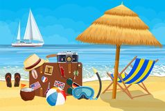 Vintage old travel suitcase on beach. vector illustration