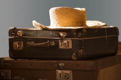 Vintage old travel suitcases on floor Royalty Free Stock Image