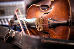 Vintage old used violin and bow Stock Image