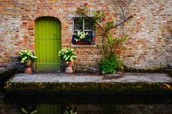 Vintage old wall with green door and flowers Stock Photography