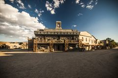 Wild West Town Bank. Vintage Old Wild West desert cowboy town with saloon Stock Photo