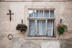 Vintage old window with flowers Royalty Free Stock Images