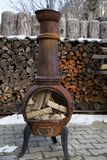Vintage old Wood Burning Stove with logs inside Ready for worming Stock Photography