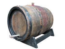 Vintage old wooden barrel isolated over white Royalty Free Stock Photography