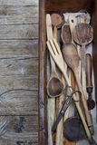 Vintage old wooden cooking utensils group on wooden Stock Images