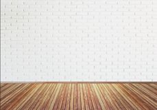 Vintage old  wooden floor texture with white brick wall for back Stock Image