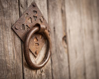 Vintage old wooden gate door handle Stock Photos