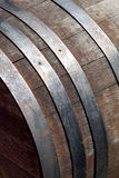 Vintage old worn barrel. Close up of old barrel with iron hoops Royalty Free Stock Photography