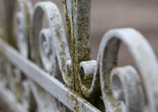 Vintage old wrought-iron fence macro photo Royalty Free Stock Photos