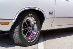 Vintage Oldsmobile Automobile. Miami, Florida USA - March 5, 2017: Close up view of a beautifully restored General Motors Cutlass Oldsmobile 442 at a public car Royalty Free Stock Images