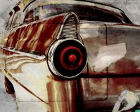 Vintage oldtimer detail. Detail of classic american car over grunge background - rear view Royalty Free Stock Photo