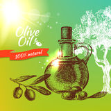 Vintage olive background. Hand drawn illustration Royalty Free Stock Photos