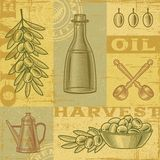 Vintage olive harvest background stock illustration