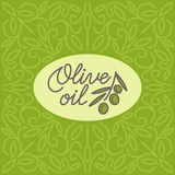 Vintage olive oil logo. With floral linear ornament. Vector illustration Stock Photos