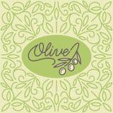 Vintage olive oil logo. With floral linear ornament. Vector illustration Stock Image