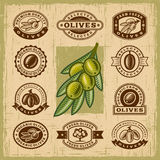 Vintage olive stamps set Royalty Free Stock Photography