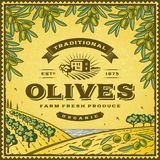 Vintage olives label Royalty Free Stock Photography