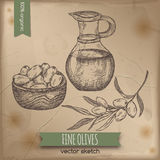 Vintage olives and olive oil template Stock Photo