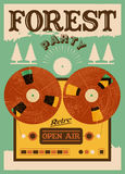 Vintage open air forest party poster. Retro typographic vector illustration. Royalty Free Stock Image