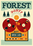 Vintage open air forest party poster. Retro typographic vector illustration. Stock Photos