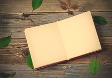 Vintage open album on the aged boards Royalty Free Stock Images