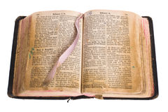 Vintage Open Bible Isolated With Cliping Path. Stock Images