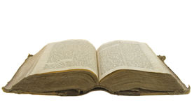 Vintage open book bible. Open for reading isolated on white Stock Photography