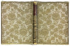 Vintage open book cover with floral pattern - fabric embroidered with gold thread - circa 1905 - XL size Royalty Free Stock Photography