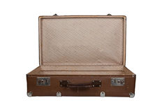 Vintage open brown leather suitcase Royalty Free Stock Image