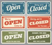 Vintage open and closed vector shop signs Royalty Free Stock Image