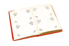 Vintage open photo album book with blank empty pages and with copy space on white background. stock photo