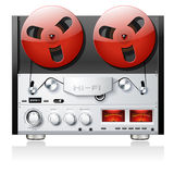 Vintage open reel analog stereo tape deck player r. Ecorder detailed vector royalty free illustration