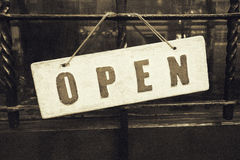 Vintage open sign on door Stock Photo
