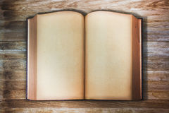 Vintage opened book top view angle Stock Photo