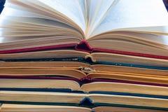 Vintage opened books. Close up stock photo