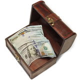 Vintage Opened Wood Box With Dollar Cash Isolated On White Stock Photo