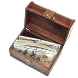 Vintage Opened Wood Box With Dollar Cash Isolated On White Stock Photography