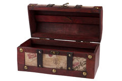 Vintage opened wooden treasure chest Royalty Free Stock Photo