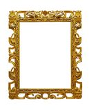 Vintage openwork gold plated wooden frame on white background. Isolated royalty free stock photo