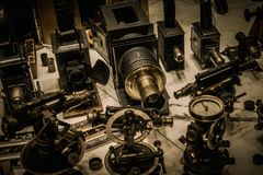 Vintage optical devices Royalty Free Stock Photography