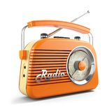 Vintage orange FM portable radio. 3D. Vintage orange FM portable radio. Object isolated on white background 3d stock illustration