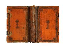 Vintage orange leather book captured opened from the outer side royalty free stock photo