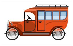 Vintage orange old mini bus isolated on white. Vector colorful illustration in flat design of antique mean of public transportation for carrying passengers Stock Photography