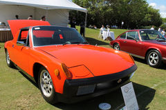 Vintage orange Porche at boca raton resort. Mid-engined Porsche on display in a lineup among other Porshce sportscar at the Porsche display area, 2014 Boca Raton Royalty Free Stock Images