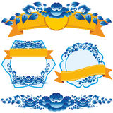 Vintage orange ribbon and blue flowers design elements and page decoration to embellish your layout. Stock Photo