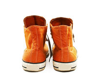 Vintage orange shoes from the back Stock Photo