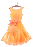Vintage orange  silk dress with pink bow.  Outfit for party.  Royalty Free Stock Photos